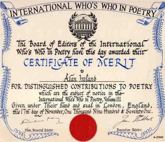 Poetry certificate